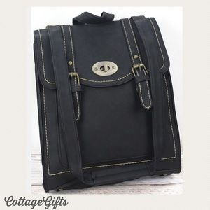 🆕 DAKOTA Vegan Leather Black Satchel Backpack